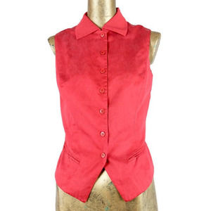 Vintage 1980's Sleeveless Red Button Up Blouse